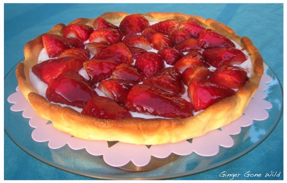 Strawberry pie whipped cream shortcrust pastry