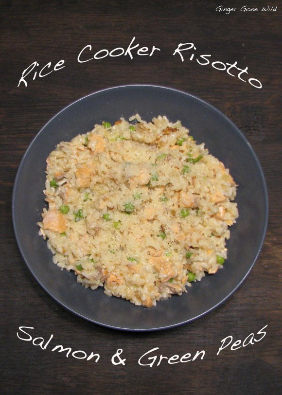 Rice cooker risotto salmon peas