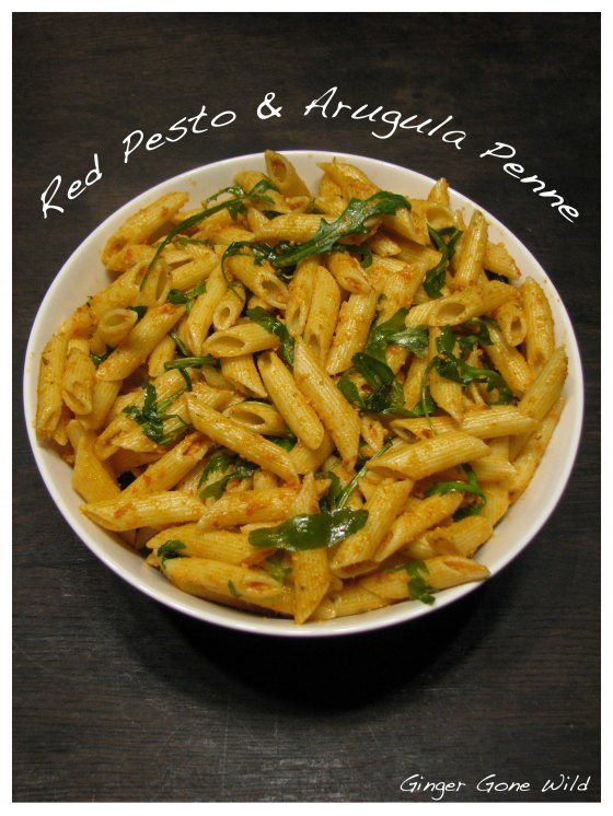 homemade red pesto arugula penne pasta